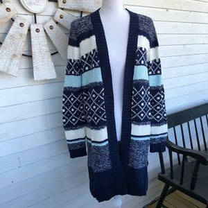 NWT Multi Blue Fair Isle Ragg Cardigan Sweater